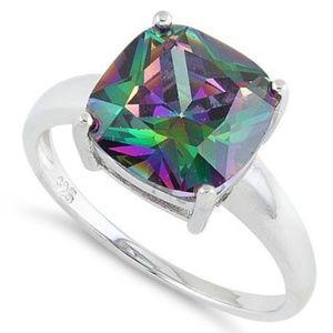 Sale!!!Sterling Silver Cushion  Rainbow CZ Ring
